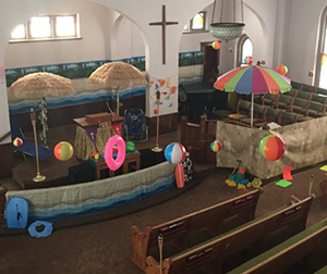 sanctuary with beach party decorations